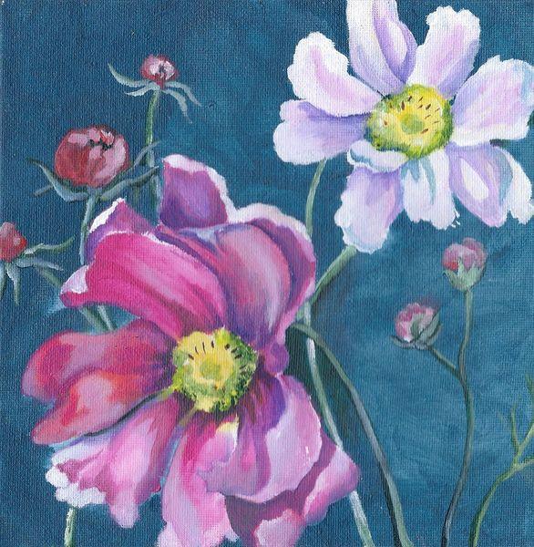 Garten, Natur, Blumen, Schmuckkörbchen, Blüte, Malerei