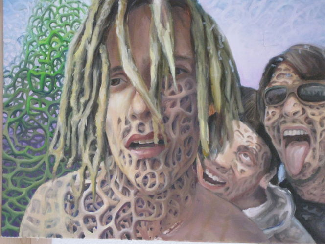Wald, Acrylmalerei, Surreal, Verzierung, Blumen, Drogen
