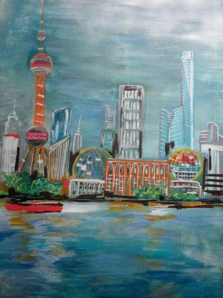 Shanghai, Meer, Gebäude, Malerei