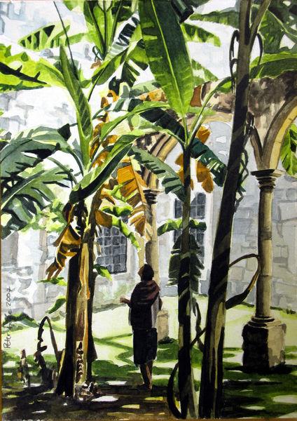 Aquarellmalerei, Natur, Mexiko, Convento, Frau, Pflanzen