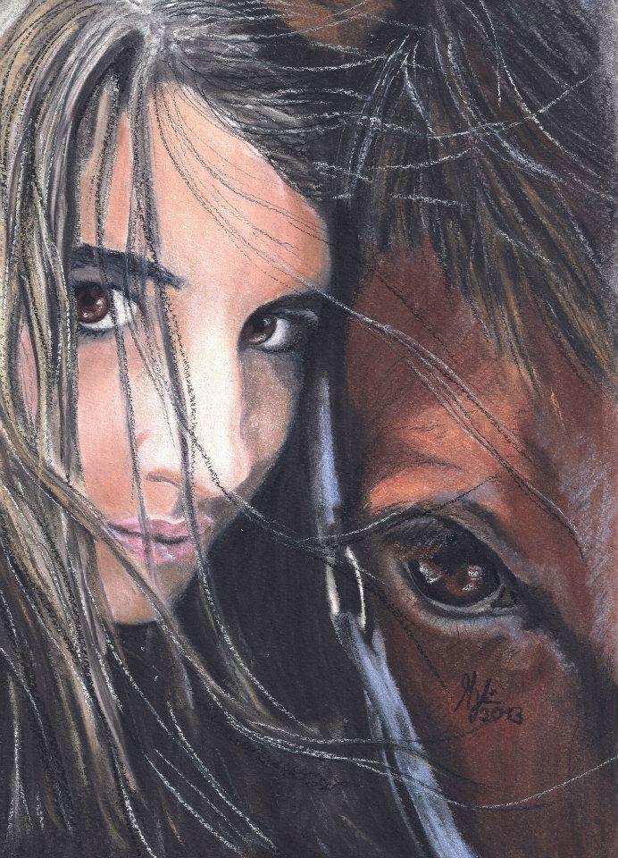 wahre liebe  augen pferdezeichnung malerei mädchen mit