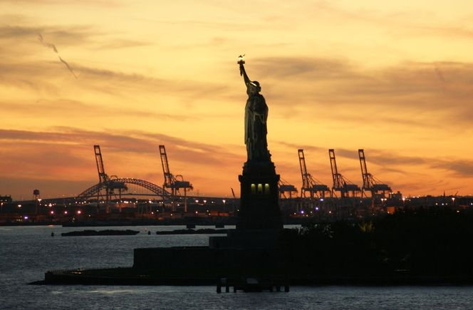 Freiheitsstatue, New york, Sonnenuntergang, Malerei