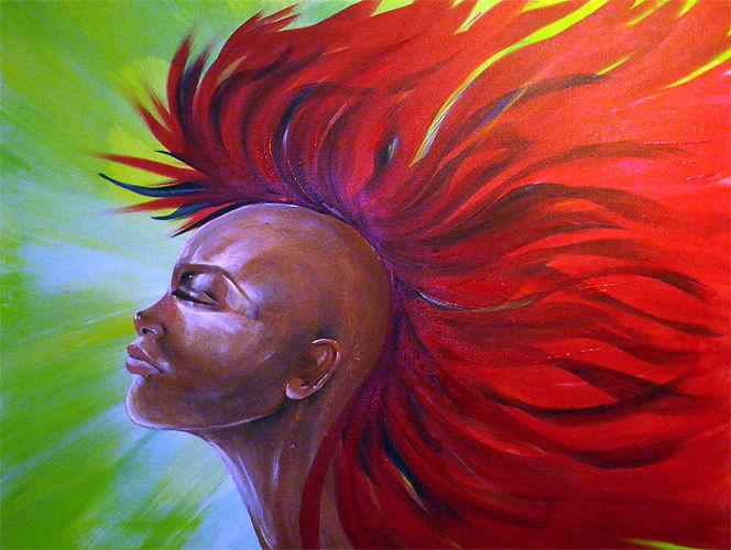 Haare, Königin, Irokesin, Frau, Rot, Malerei