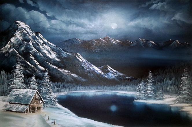 Schnee, Baum, Winter, Berge, Vollmond, Malerei