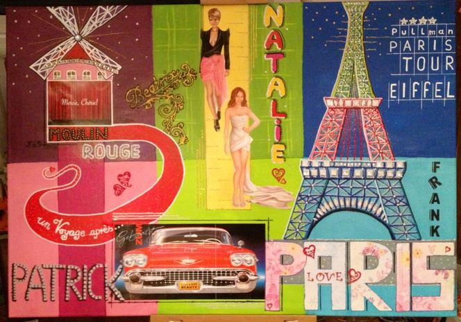Lack, Hand gemalt, Pop art, Paris, Eiffelturm, Malerei