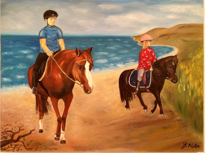 Strand, Ölmalerei, Landschaft, Kinder, Pferde, Meer