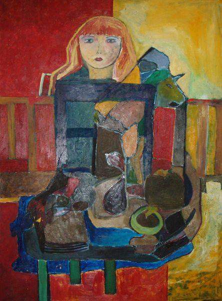 Madchen, Stuhl, Fruchten, Malerei, Abstrakt