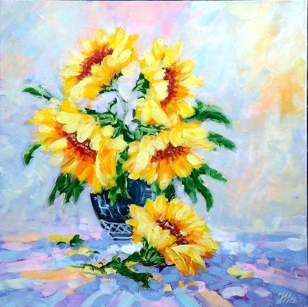 Blumen, Natur, Gemälde, Sonnenblumen, Malerei