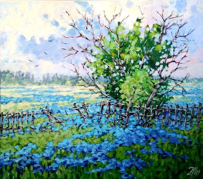 Wiese, Sommer, Blumen, Malerei