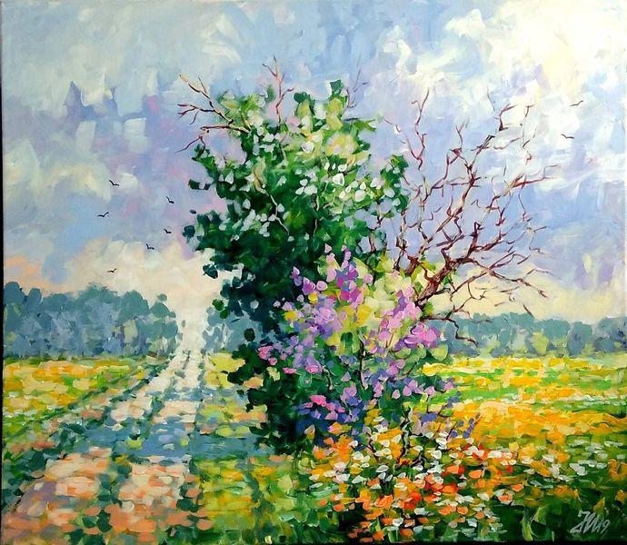 Feldweg, Wiesenweg, Sommer, Malerei