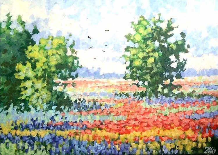 Sommer, Wiese, Blumenwiese, Natur, Malerei