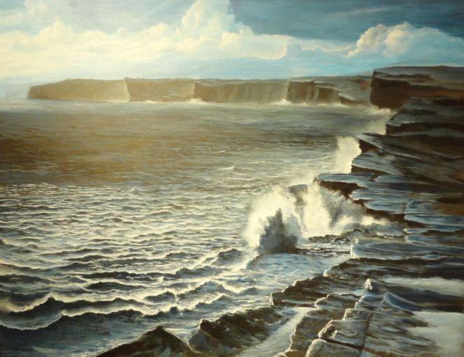 Wasser, Acrylmalerei, Steilküste, Welle, Meer, Ozean