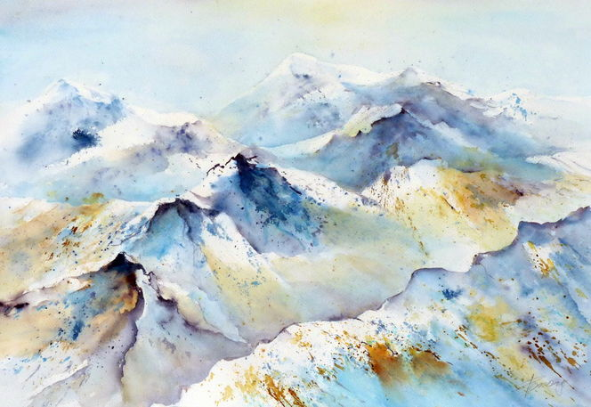 Blau, Landschaft, Sonne, Winter, Berge, Aquarell