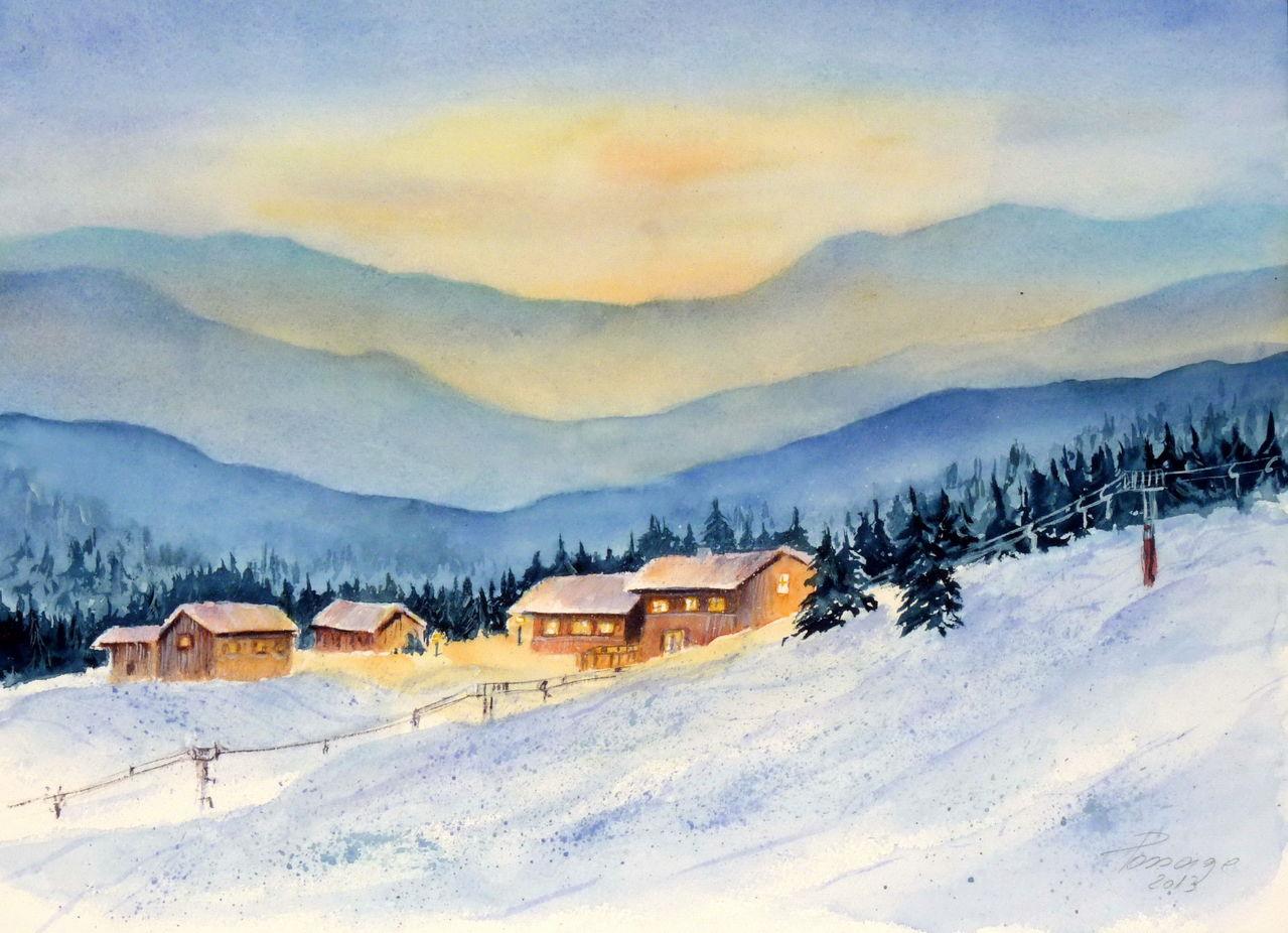 bild aquarell landschaften winter alpen von ildiko. Black Bedroom Furniture Sets. Home Design Ideas