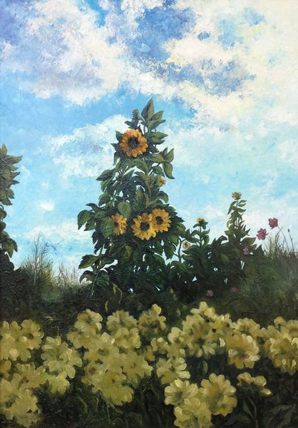 Sommer, Blumen, Sonnenblumen, Landschaft, Malerei