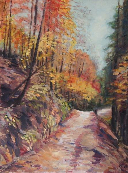 Weg, Blätter, Herbst, Wald, Impressionismus, Malerei