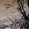 Tuschmalerei, Landschaft, Natur, Zeichnung