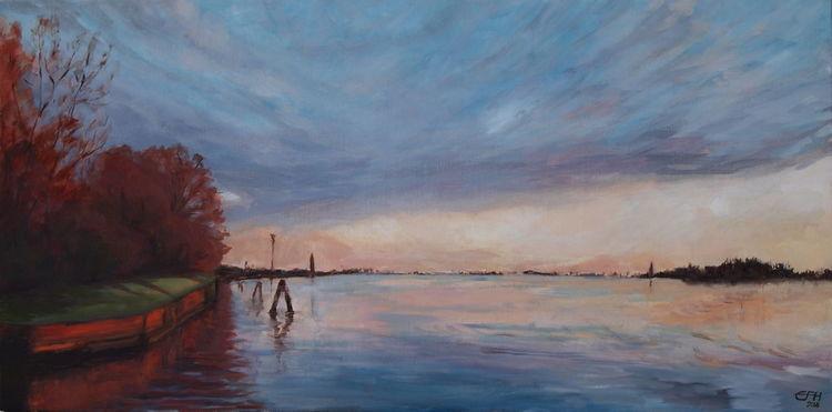 Sonnenuntergang, Torcello, Venedig, Gemälde, Wasser, Impressionismus