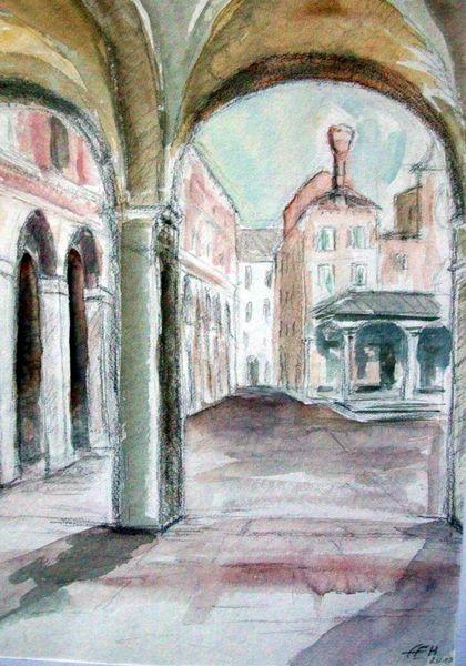 Fischmarkt, Venedig, Malerei, Aquarellmalerei, Impressionismus, Zeichnung
