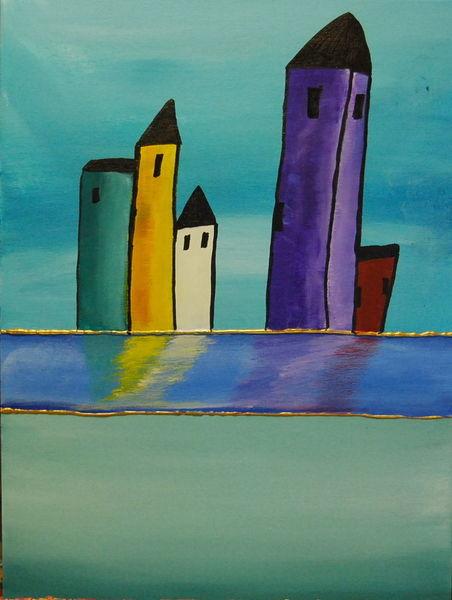 Kleinstadt, Farben, Acrylmalerei, Malerei