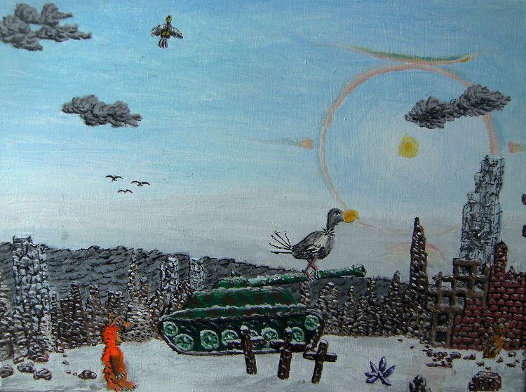 Panzer, Schnee, Ruine, Geier, Sonne, Halo