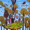 Frau, Wald, Blätter, Herbst
