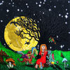 Die Drachenflüsterin - Naive Malerei, Phantasie, Acrylfarben, Leinwand, Frau, Mond, Drachen, Baum, Sterne, Pilze