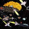 Schlacht, Asteroid, Raumschiffe, Krieg