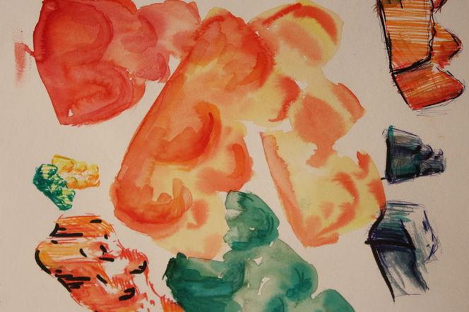 Kunstnet werke aquarell abstrakt gummibärchen