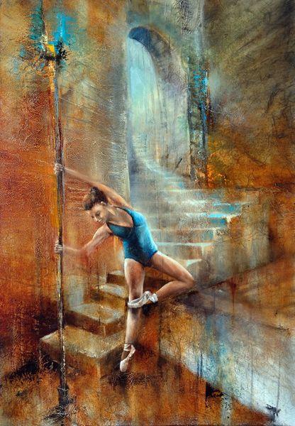 Ballett, Treppe, Balance, Licht, Tanz, Malerei