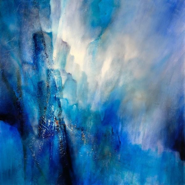 Abstrakt, Licht, Weite, Blau, Struktur, Malerei