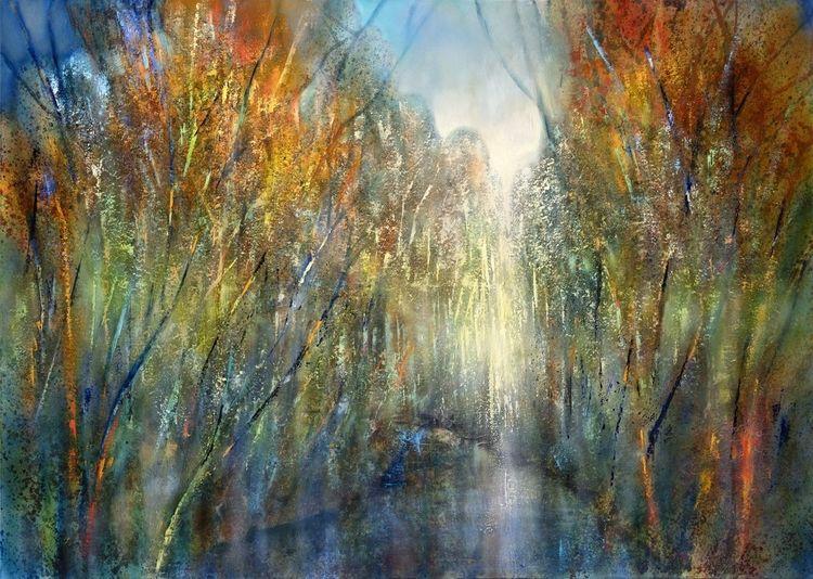 Fliegen, Malerei, Farben, Licht, Baum, Wasser