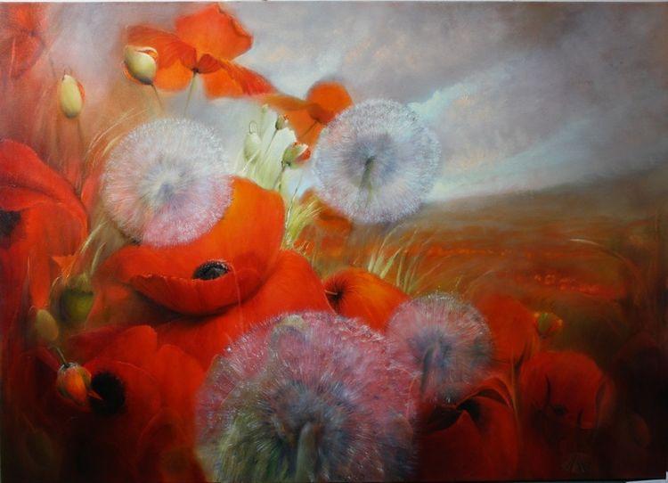 Mohnblumen, Frühling, Pusteblumen, Mohn, Blumen, Malerei