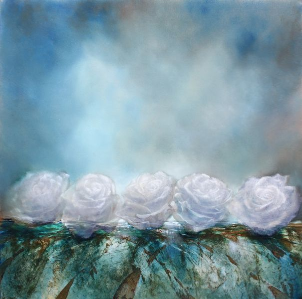Schnee, Schneerosen, Rose, Weiß, Malerei, Blumen