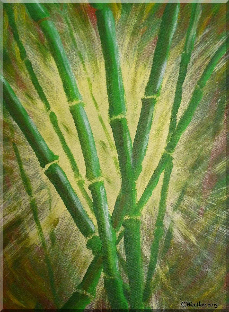 Bambus Im Lichtstrahl Acrylmalerei Pflanzen Natur Bambus Von