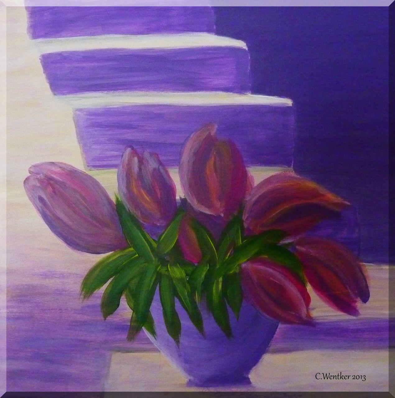 Frühlingsboten Tulpen Blüte Frühling Vase Von Lust Auf Malen