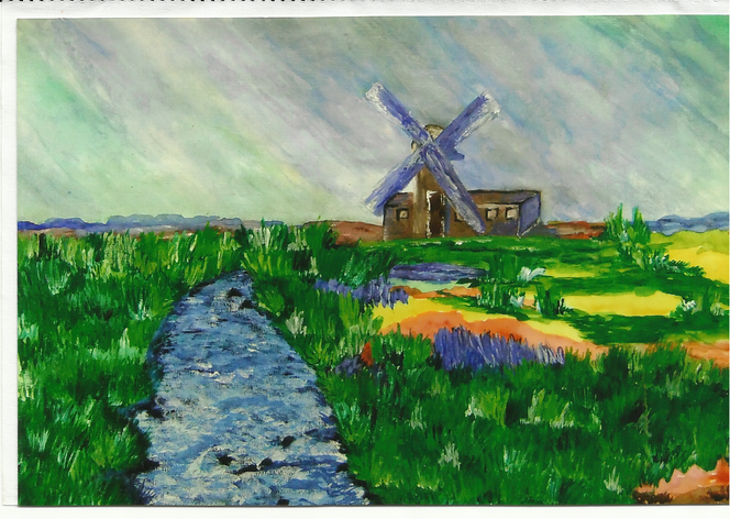 Holland muehle, Aquarell, Holland