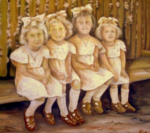 Kinder, Menschen, Sonntagskleidchen, Malerei