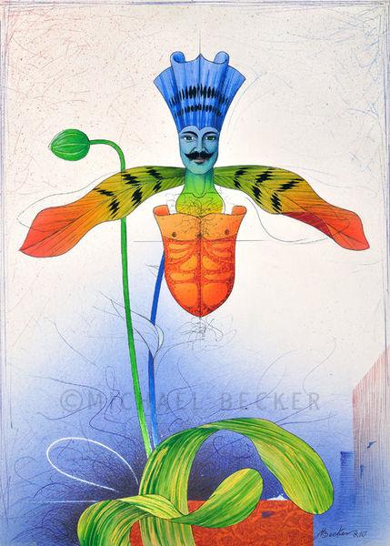 Kugelschreiber, Orchidee, Illustration, Blüte, Zeichnung, Collage