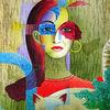 Gesicht, Malerei, Katze, Frau