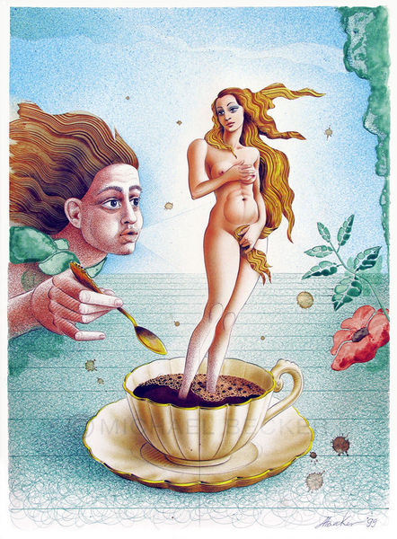 Tasse, Geburt, Venus, Botticelli, Mischtechnik, Wind