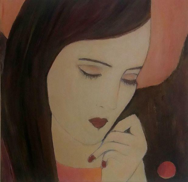 Versonnen, Romantik, Portrait, Frau, Malerei