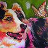 Border collie, Schmetterling, Europa, Gemälde