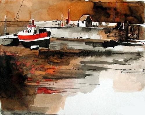 Schiff, Hafen, Bretagne, Malerei