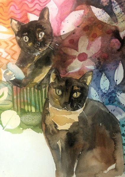 Katze, Schwestern, Samtpfoten, Aquarell