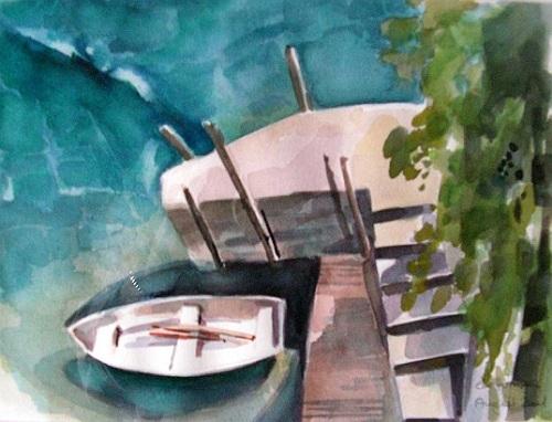 Tessin, Lago, Fenster, Blick, Aquarell