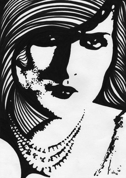 Dame, Schwarz weiß, Illustrationen