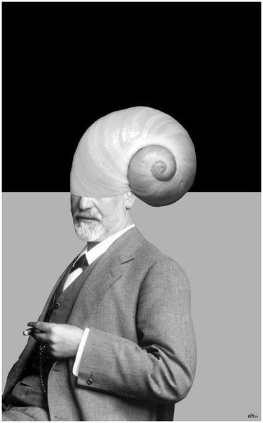 Freud, Schneckenhaus, Hell, Dunkel, Digitale kunst, Konzept