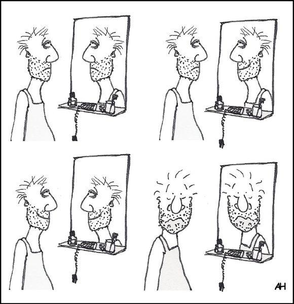Lächeln, Cartoon, Spiegel, Zeichnungen