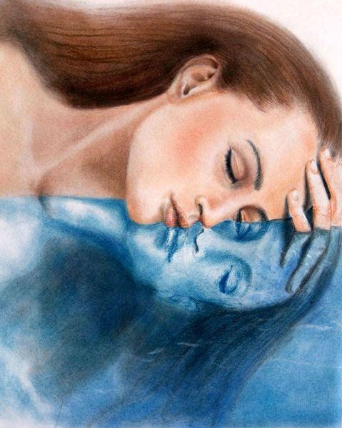 Unbewusst, Frau, Bewusstsein, Spiegel, Wasser, Malerei